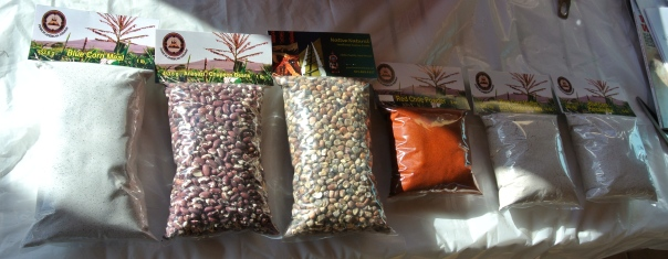 Native Naturals product line (from left to right): Blue Corn Meal, Anasazi Beans, Parched Blue Corn, Red Chili Powder (mild), Blue Corn Muffin and Cornbread Mix, and Blue Corn Pancake Mix