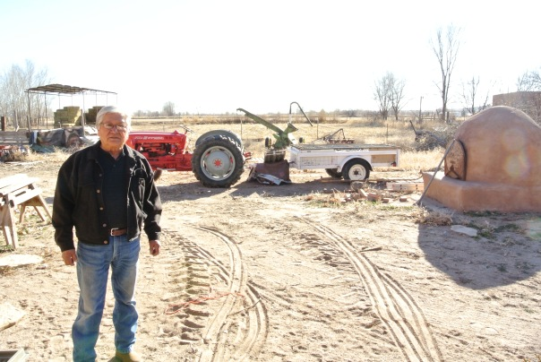 Joe Jaramillo on his farm at Isleta Pueblo