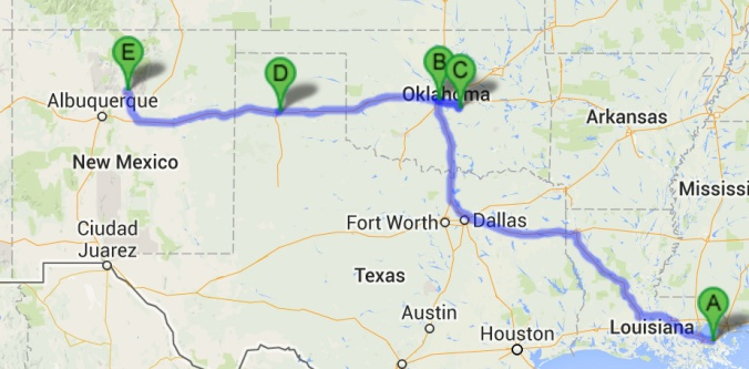 Louisiana > Oklahoma > (through Texas) > New Mexico