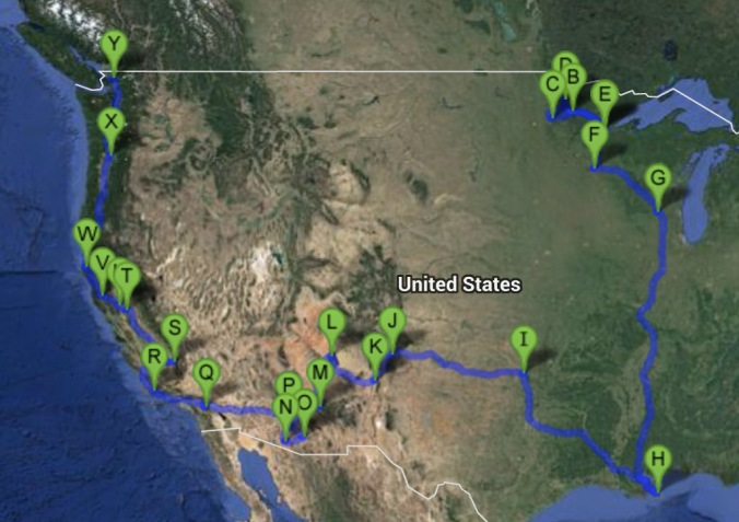 Roadtrip Route through February 18th