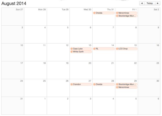 August Schedule