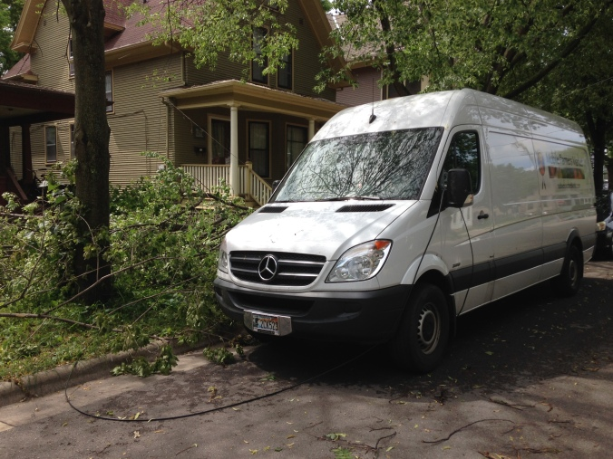 The van has now survived a  tornado.  Our staff member's nearby sailboat was not so lucky but should make a full recovery